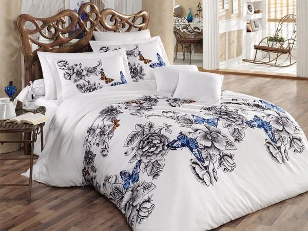 Gülfem 100% Baumwolle Doppelbettbezug Set Weiß   Beste Klasse