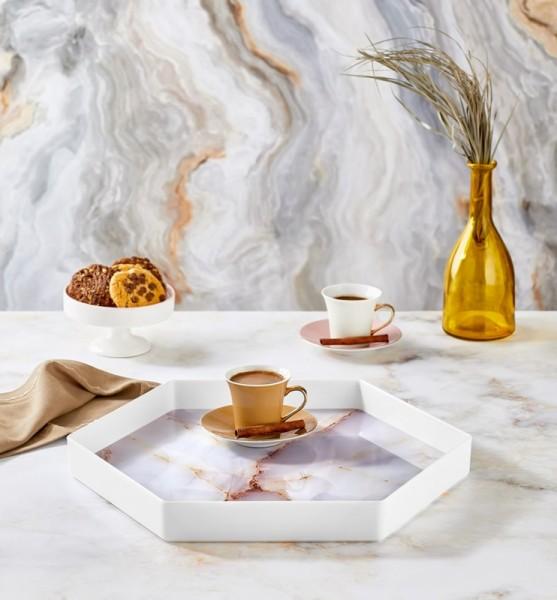 Vip Ahmet Hexagonal White Glass Tray   VIPAHMET-VP-199