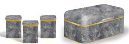 Vip Ahmet Marble Pattern Metal Rectangular Bread Set 4 Pieces | VIPAHMET-VP-244