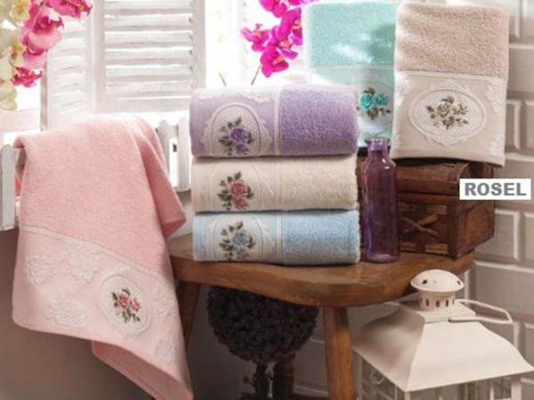 Ensemble de serviettes de bain jacquard brodées bouclées Rosel 2 pièces