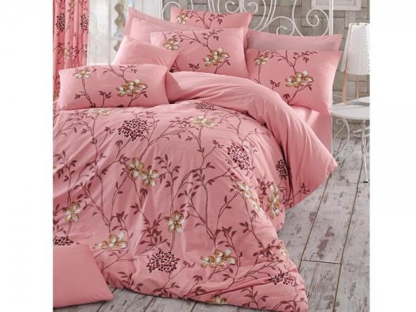 Carmen 100% Baumwolle Doppelbettbezug Set Pink | Beste Klasse
