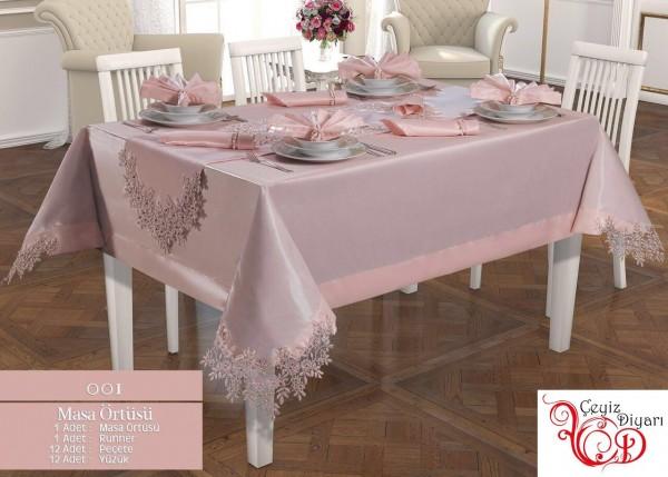 Französische geschnürte Engel Tischdecke Set 26 Stück Pulver