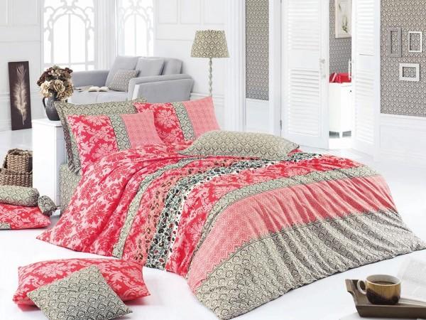 Hierapolis 100% Baumwolle Doppelbettbezug Set Rot | Beste Klasse