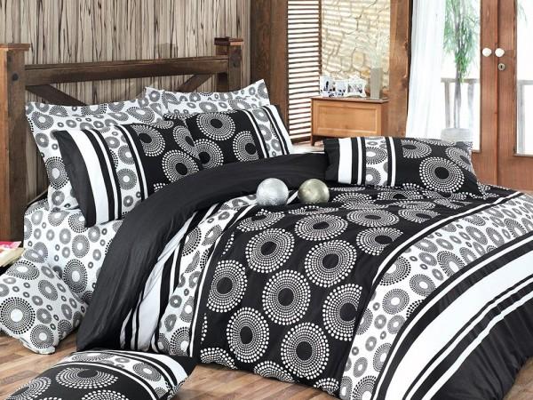 Sema 100% Baumwolle Doppelbettbezug Set Schwarz | Beste Klasse