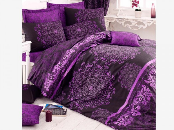 Ottoman 100% Baumwolle Doppelbettbezug Set Lila | Beste Klasse