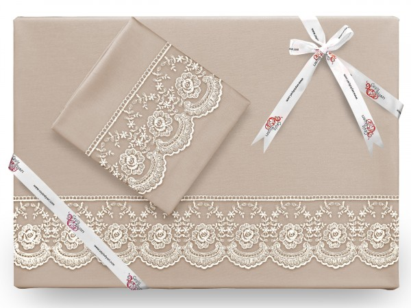 French Lace Cure Mitgift Bettbezug Set Cappucino