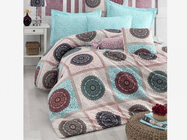 Oryantel 100% Baumwolle Doppelbettbezug Set Blau   Beste Klasse