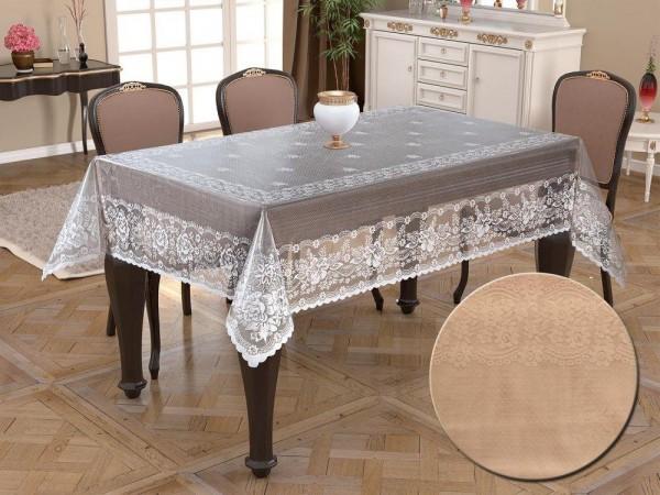 Gestrickter Kamin-Tisch mit Strickmuster Narin Cappucino