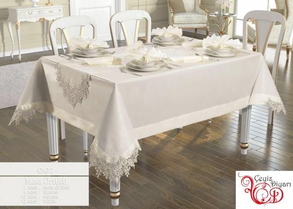 French Laced Angel Tischdecke Set 26 Stück Creme